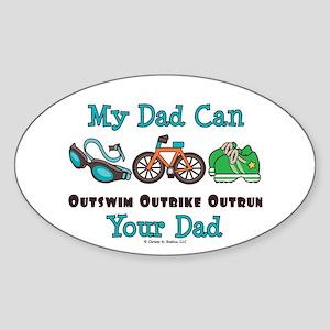Dad Triathlete Triathlon Oval Sticker