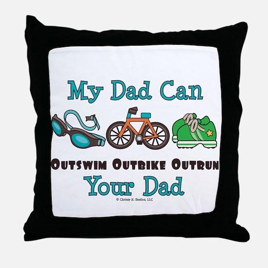 Dad Triathlete Triathlon Throw Pillow