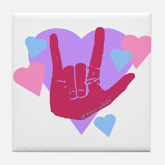ILY Hearts Tile Coaster