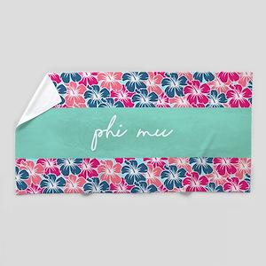 Phi Mu Flowers Beach Towel