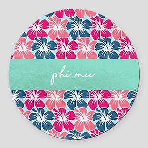 Phi Mu Flowers Round Car Magnet