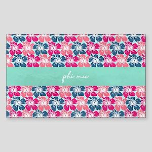 Phi Mu Flowers Sticker (Rectangle)