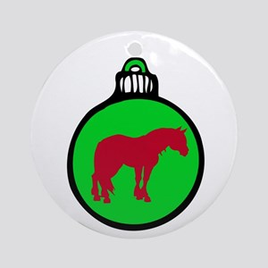 Green Clydesdale Christmas Ornament (Round)