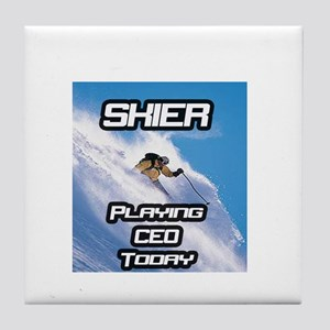 """Skier Playing CEO Today"" Tile Coaster"