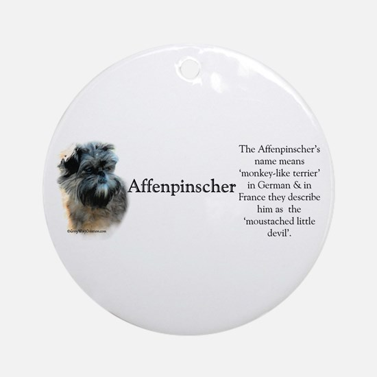 Affenpinscher Profile Ornament (Round)