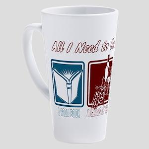 Book, Wine, Belgian 17 oz Latte Mug