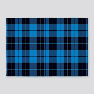Black and blue plaid 5'x7'Area Rug