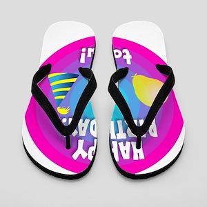 Happy Birthday (Rainbow Target) Flip Flops