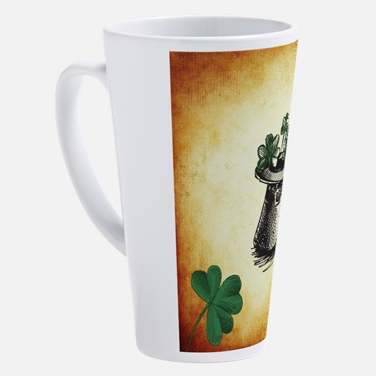 Black Stenciled Leprechaun Hat on 17 oz Latte Mug