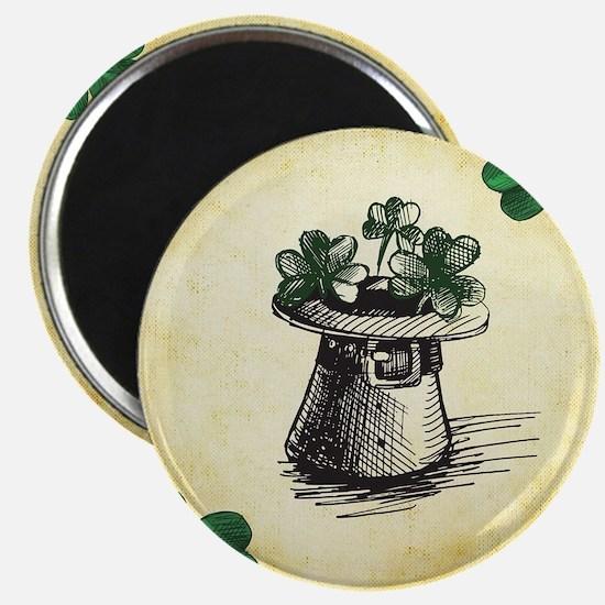 Black Stenciled Leprechaun Hat on Tan Magnets