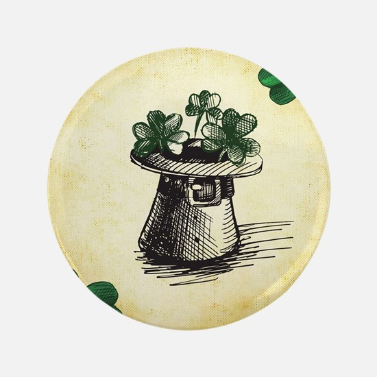 "Black Stenciled Leprechaun 3.5"" Button (100 pack)"