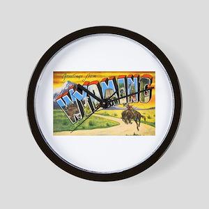 Wyoming Greetings Wall Clock