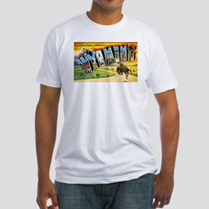 Wyoming Greetings (Front) Fitted T-Shirt