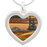 Polar Bear Art Silver Heart Necklace