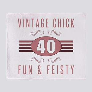 40th Birthday Vintage Chick Throw Blanket