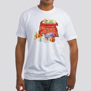 Baby Ferrets And Santa's Gift Bag Fitted T-Shirt