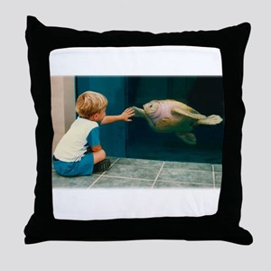 Boy and Turtle Throw Pillow