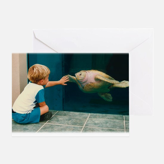Boy and Turtle Greeting Card
