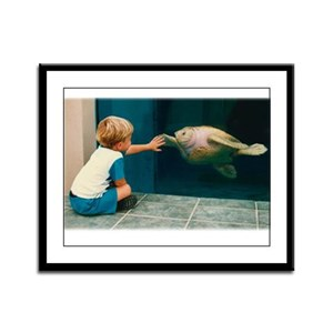 Boy and Turtle Framed Panel Print
