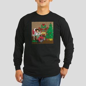 Santa's Ferrets Christmas Long Sleeve Dark T-Shirt