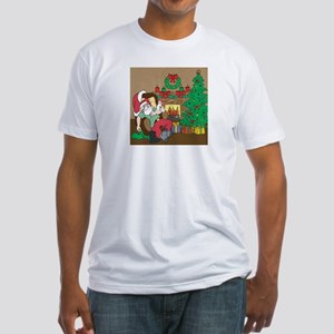 Santa's Ferrets Christmas Fitted T-Shirt