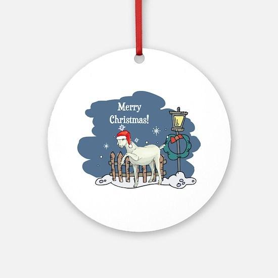 Santa Goat Christmas Ornament (Round)