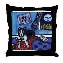 PITBULL TERRIER art Throw Pillow