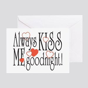 Kiss Me Goodnight Hearts Greeting Card
