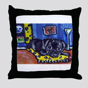 Black pug smiling moon Throw Pillow