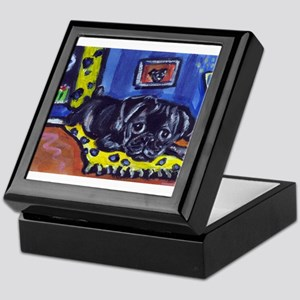 Black pug smiling moon Keepsake Box