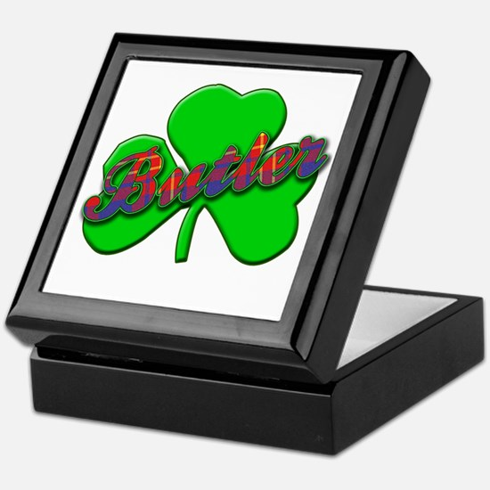 BUTLER Name, Tartan and Shamrock Keepsake Box
