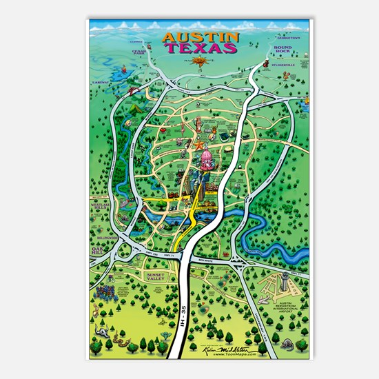 Cartoon map Postcards (Package of 8)