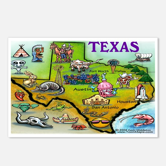 Cool Cartoon map Postcards (Package of 8)