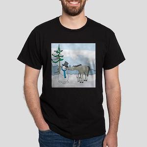 Snowman And Horse Dark T-Shirt