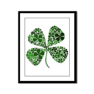 Extra Lucky Four Leaf Clover Framed Panel Print