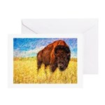 Bison On The Range Painting Greeting Cards