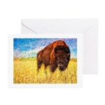 Bison On The Range Painting 10 Greeting Cards