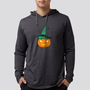 Jack O' Lantern with Green Wit Long Sleeve T-Shirt