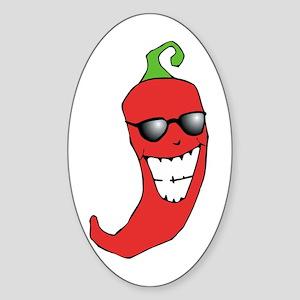 Cool Chili Pepper Oval Sticker