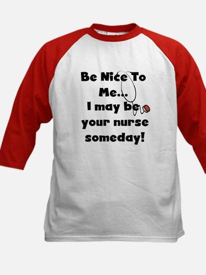 Nurse-Be Nice to Me Kids Baseball Jersey