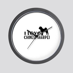 I Love Chinese Shar-pei Wall Clock