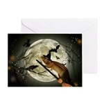 Squirrel Halloween Witch Greeting Cards