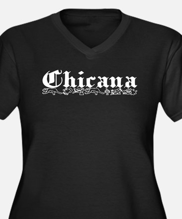 Chicana Plus Size V-Neck Dark T-Shirt