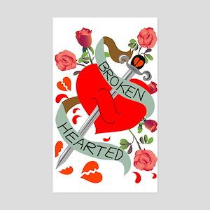 Broken Hearted Tattoo Rectangle Sticker