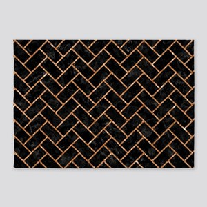 BRICK2 BLACK MARBLE & COPPER GLITTE 5'x7'Area Rug