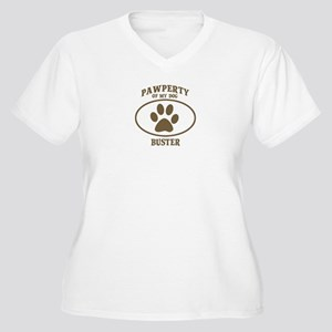 Pawperty of BUSTER Women's Plus Size V-Neck T-Shir