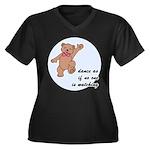 Dancing Bear Women's Plus Size V-Neck Dark T-Shirt