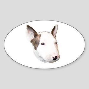 Bull Terrier Puppy Oval Sticker