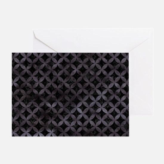 CIRCLES3 BLACK MARBLE & BLACK WATERC Greeting Card