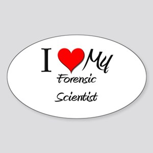 I Heart My Forensic Scientist Oval Sticker